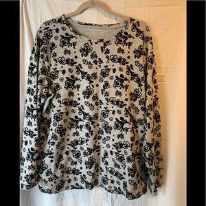 Talbots grey with black roses 1xl long sleeve top